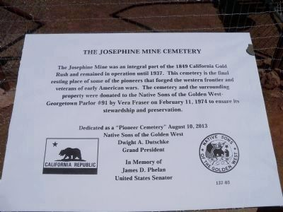 The Josephine Mine Cemetery Marker image. Click for full size.