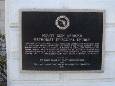 Mount Zion African Methodist Episcopal Church Marker image. Click for full size.