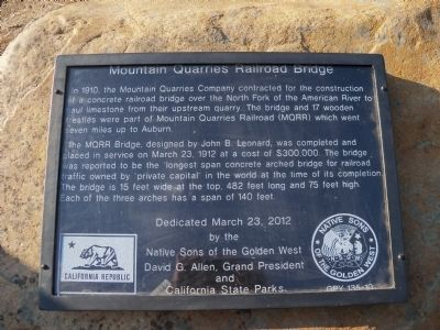 Mountain Quarries Railroad Bridge Marker image. Click for full size.