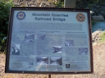 Mountain Quarries Railroad Bridge Informational Marker image. Click for full size.