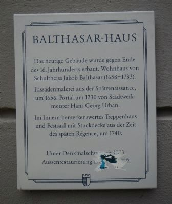 Balthasar-haus Marker image. Click for full size.