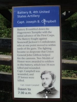 Battery B, 4th United States Artillery Marker image. Click for full size.