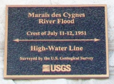 1951 Marais des Cygnes Flood High-Water Line Marker image. Click for full size.