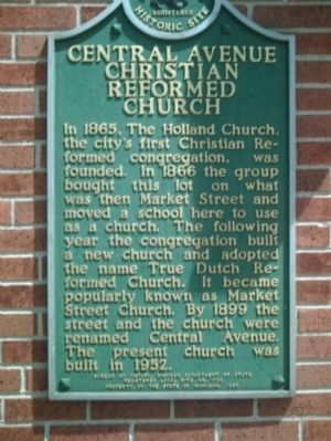 Central Avenue Christian Reformed Church Marker image. Click for full size.