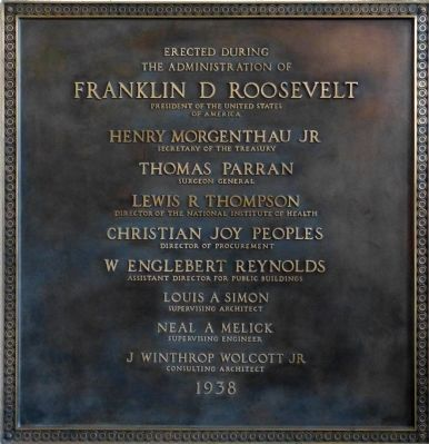 Plaque in the front foyer of Building 1 image. Click for full size.