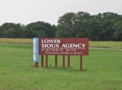 Nearby Lower Sioux Agency Historic Site Sign image. Click for full size.