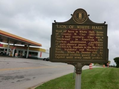 """Lion of White Hall"" Marker image. Click for full size."