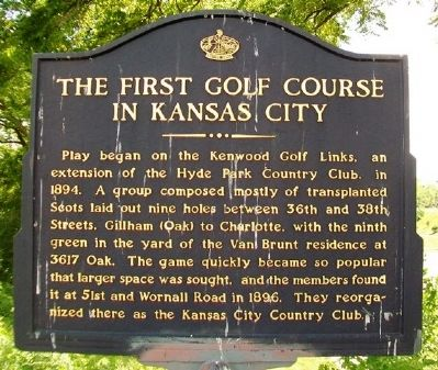 The First Golf Course in Kansas City Marker image. Click for full size.