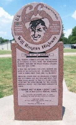 U.S. 66 Will Rogers Highway Marker image. Click for full size.