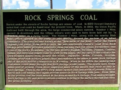 Rock Springs Coal Marker image. Click for full size.