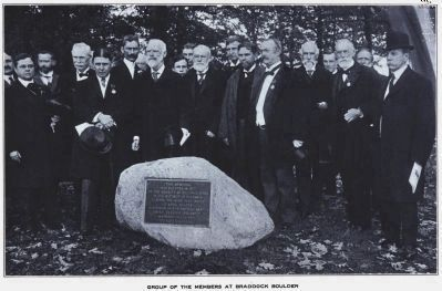 Members of the Society of Colonial Wars<br> at the Dediction of the Braddock Boulder image. Click for full size.