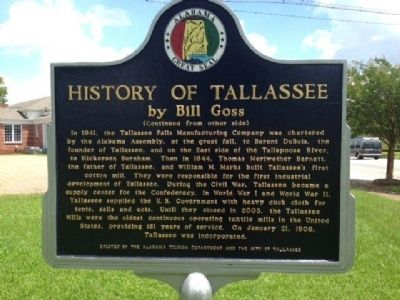 History of Tallassee Marker image. Click for full size.