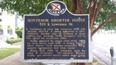 Governor Shorter House Marker image. Click for full size.