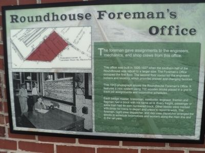 Roundhouse Foreman's Office Marker image. Click for full size.