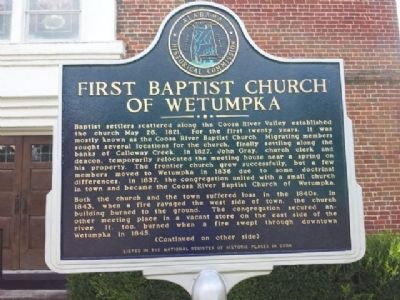 First Baptist Church of Wetumpka Marker image. Click for full size.