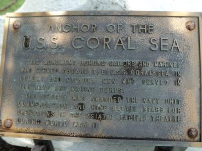 Anchor of the U.S.S. Coral Sea Marker image. Click for full size.