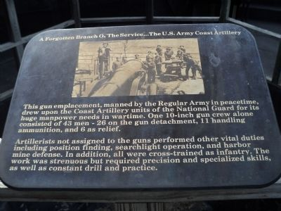 A Forgotten Branch Of The Service . . . The U.S. Army Coast Artillery Marker image. Click for full size.