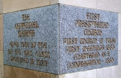 First Presbyterian Church Centennial Cornerstone image. Click for full size.