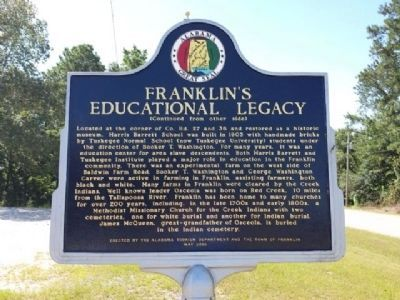 Franklin's Educational Legacy Marker (reverse) image. Click for full size.
