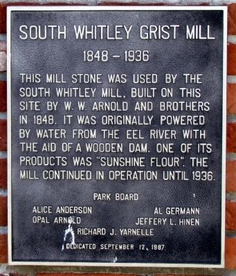 South Whitley Grist Mill Marker image. Click for full size.