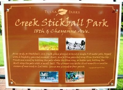 Creek Stickball Park Marker image. Click for full size.