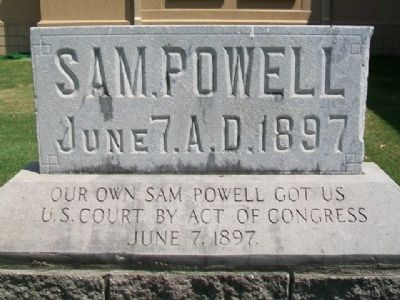 Sam Powell and U.S. Court Marker (front) image. Click for full size.