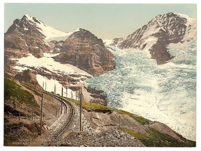 Jungfrau, railroad, Eiger and Monch, with Eiger Glacier, Bernese Oberland, Switzerland image. Click for full size.