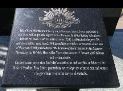 Australian Commonwealth Military Forces' plaque at the foot of the memorial's monoliths image. Click for full size.