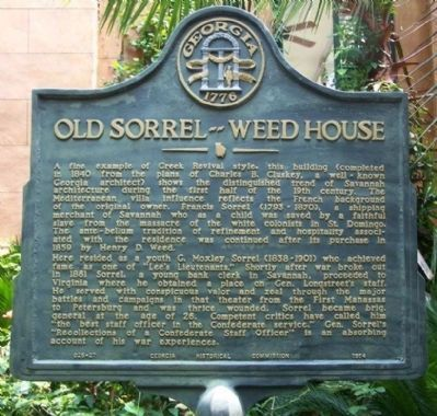 Old Sorrel–Weed House Marker image. Click for full size.