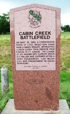 Cabin Creek Battlefield Marker image. Click for full size.