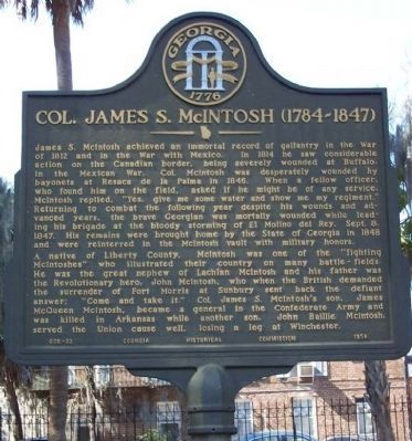 Col. James S. McIntosh (1784-1847) Marker image. Click for full size.