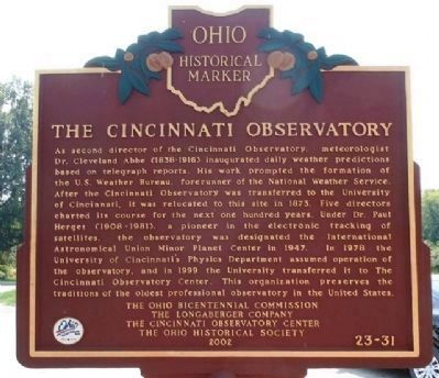The Cincinnati Observatory Marker (Side B) image. Click for full size.