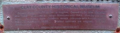 Clay County Historical Museum Marker Detail image. Click for full size.