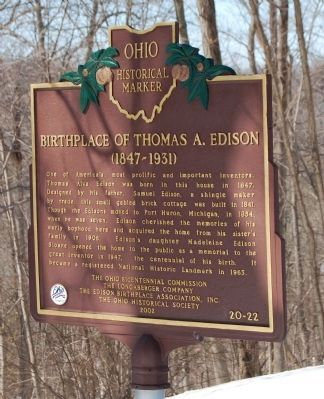 Birthplace of Thomas A. Edison Marker image. Click for full size.