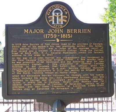 Major John Berrien (1759-1815) Marker image. Click for full size.
