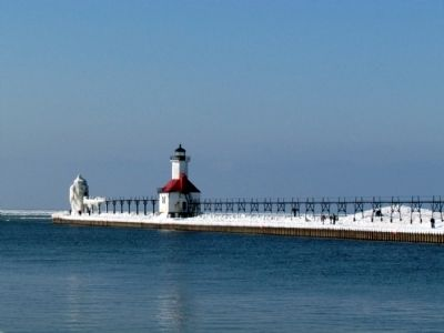Outer Light Tower, Inner Lighthouse, and Catwalk in Winter image. Click for full size.