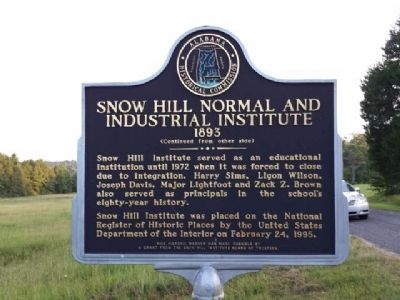 Snow Hill Normal and Industrial Institute Marker image. Click for full size.