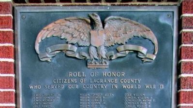 """L - R"" - - LaGrange County W. W. II Honor Rolls Marker image. Click for full size."