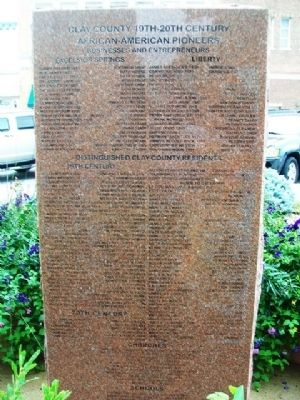 Clay County African American Pioneers Marker (back) image. Click for full size.