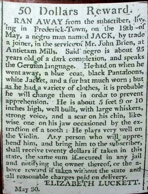 Advertisement for a German Speaking, Violin Playing, Runaway Enslaved Joiner Named Jack image. Click for full size.