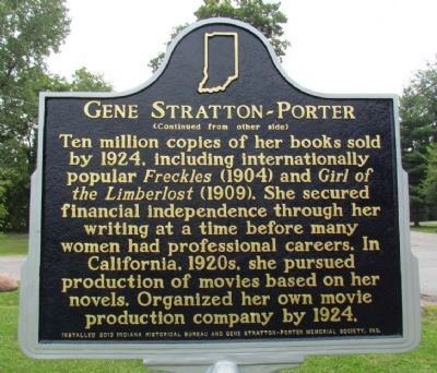 Gene Stratton-Porter Marker (Back) image. Click for full size.