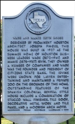 Wade and Mamie Irvin House Marker image. Click for full size.