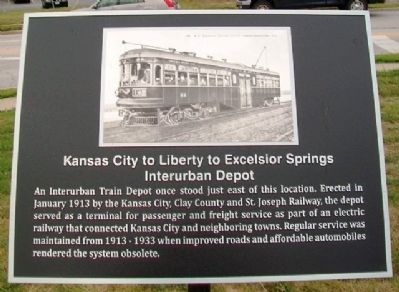 Kansas City to Liberty to Excelsior Springs Interurban Depot Marker image. Click for full size.