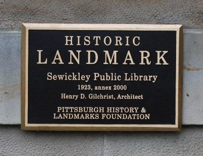 Sewickley Public Library Marker image. Click for full size.
