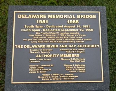 Delaware Memorial Bridge Marker image. Click for full size.