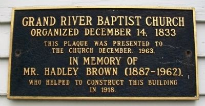 Grand River Baptist Church Marker image. Click for full size.