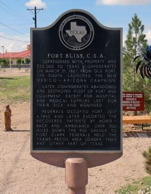 Fort Bliss, C.S.A. Marker image. Click for full size.