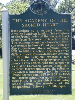 The Academy of the Sacred Heart marker image. Click for full size.