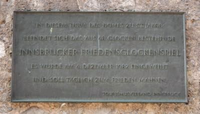 Innsbruck Peace Carillon plaque image. Click for full size.