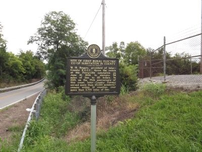 Site of First Rural Electric Co-Op Substation in County Marker image. Click for full size.